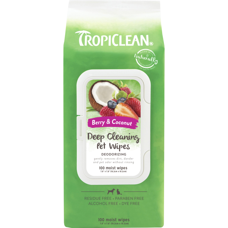 Tvättlappar TropiClean Djuprengörande, 100-pack