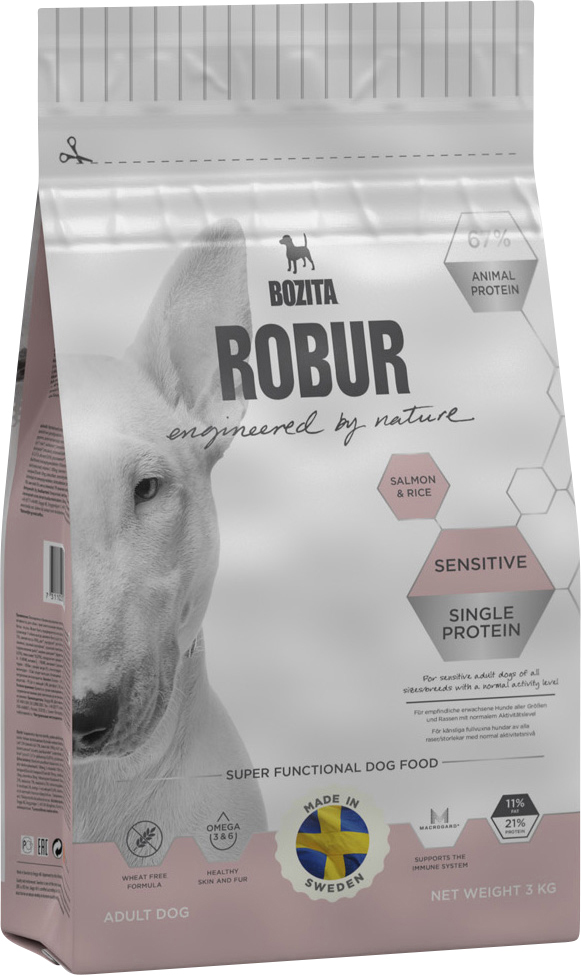 Hundfoder Bozita Robur Sensitive Single Protein Salmon, 3 kg