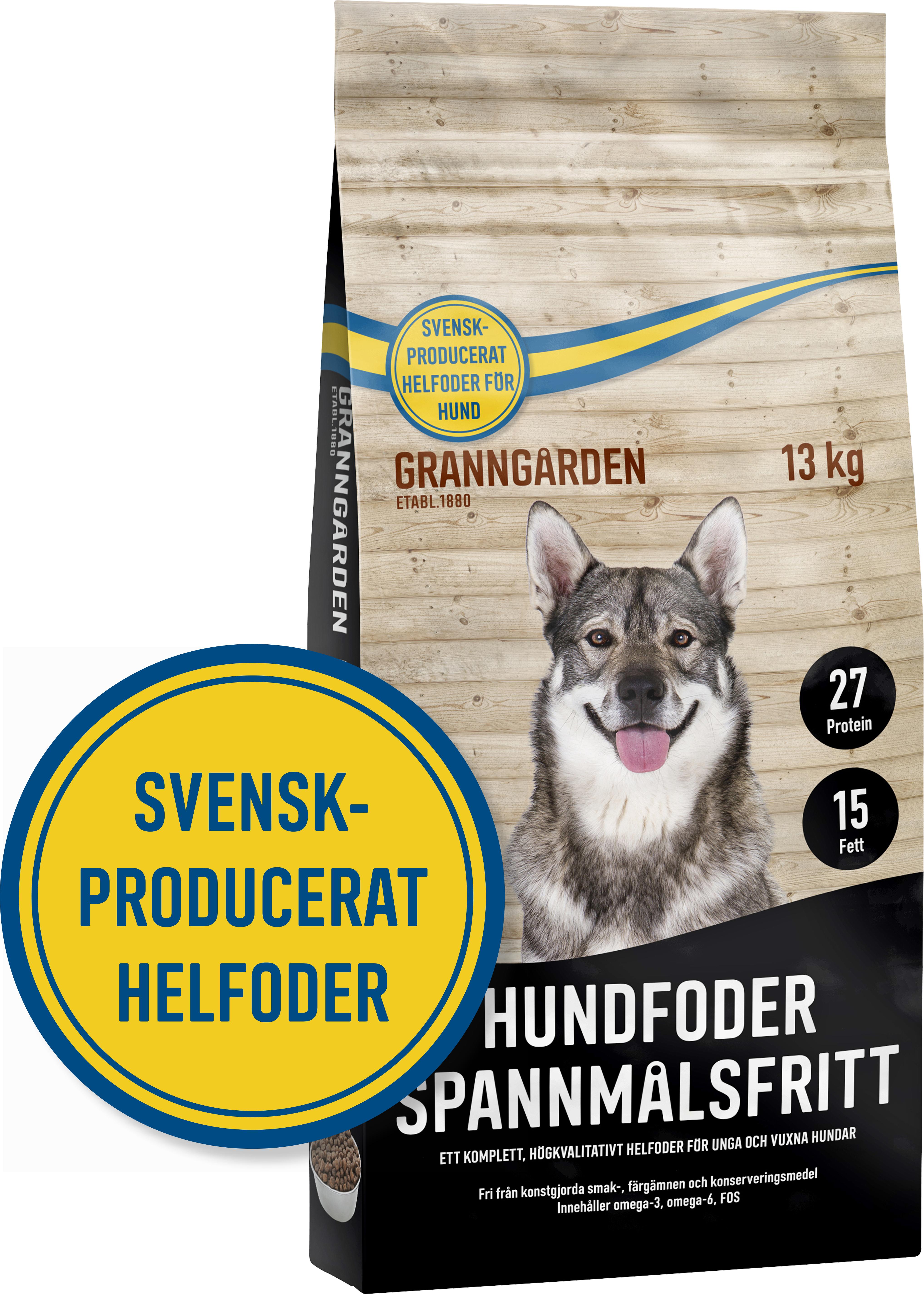 Hundfoder Granngården Spannmålsfritt, 13 kg
