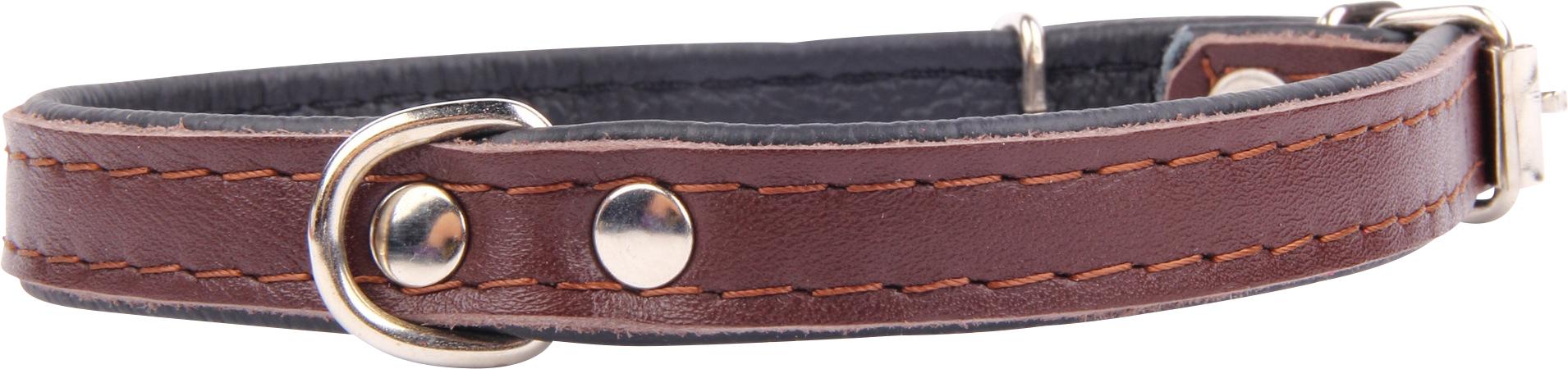 Läderhalsband, brun 55 cm