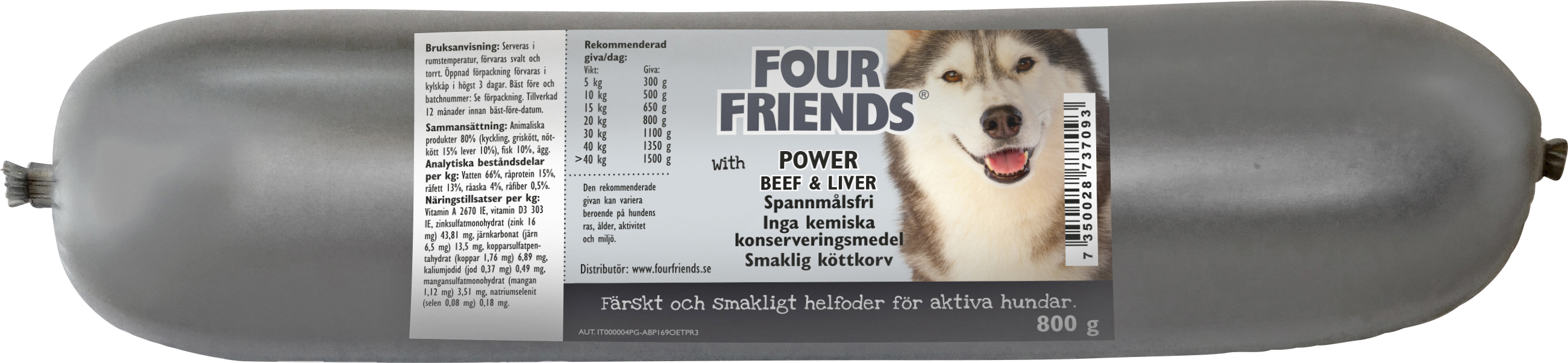 Hundfoder Four Friends Köttkorv Adult Power, 800 g