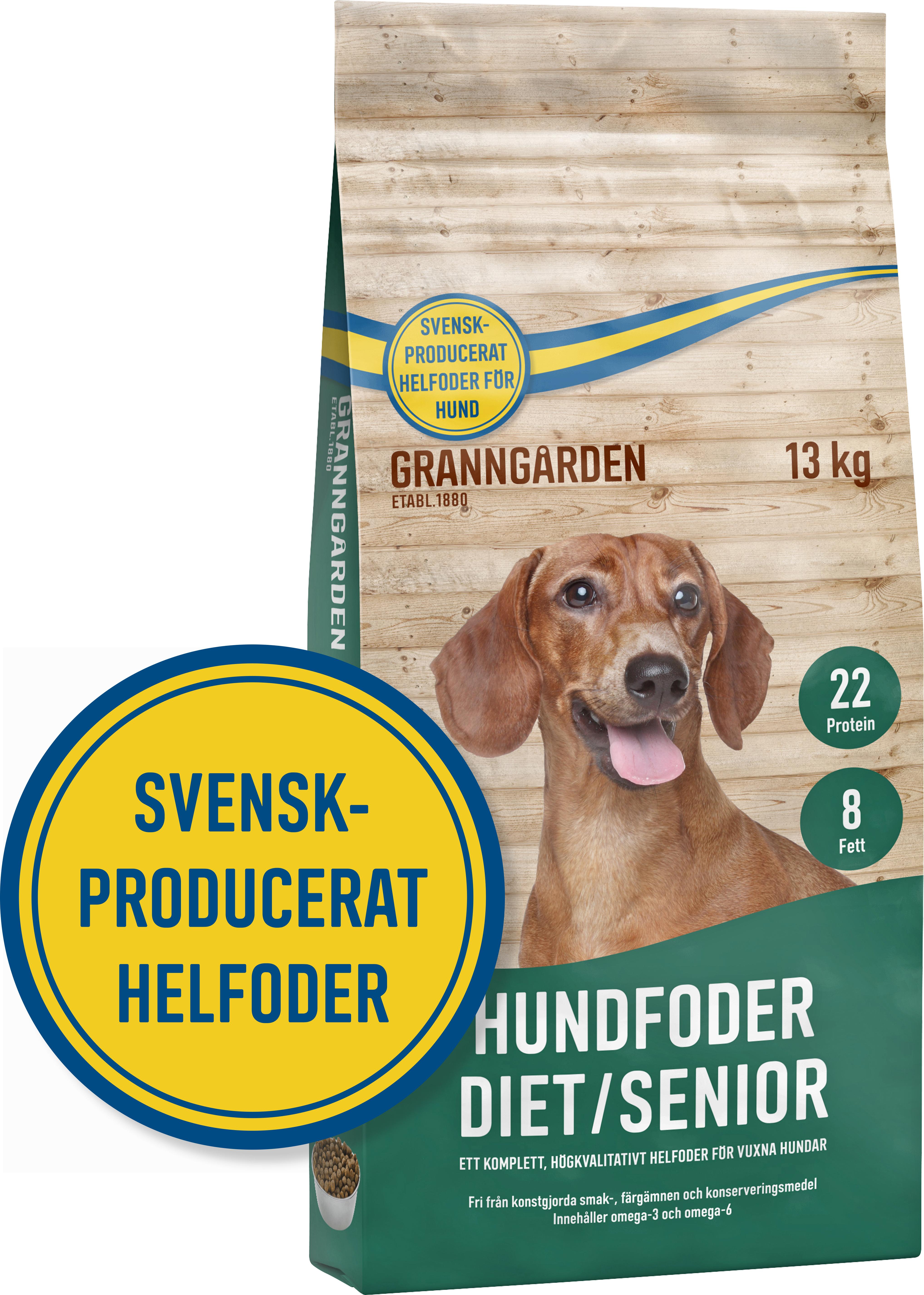 Hundfoder Granngården Diet/Senior, 13 kg