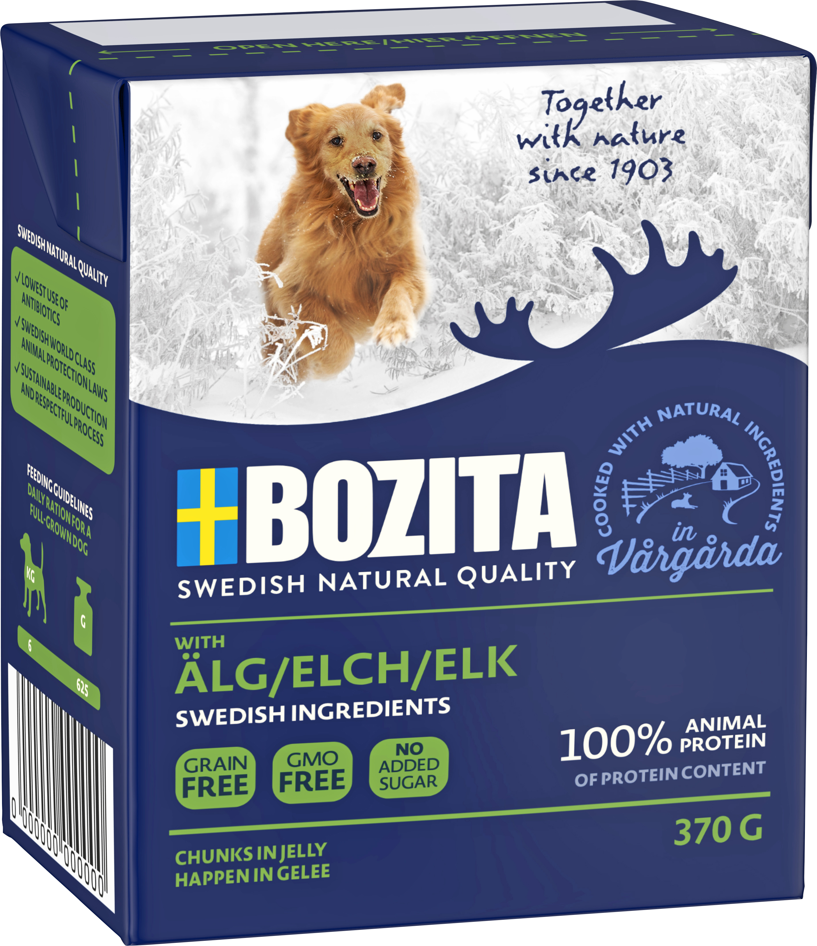 Hundfoder Bozita Tetra Recart Älg, 370 g
