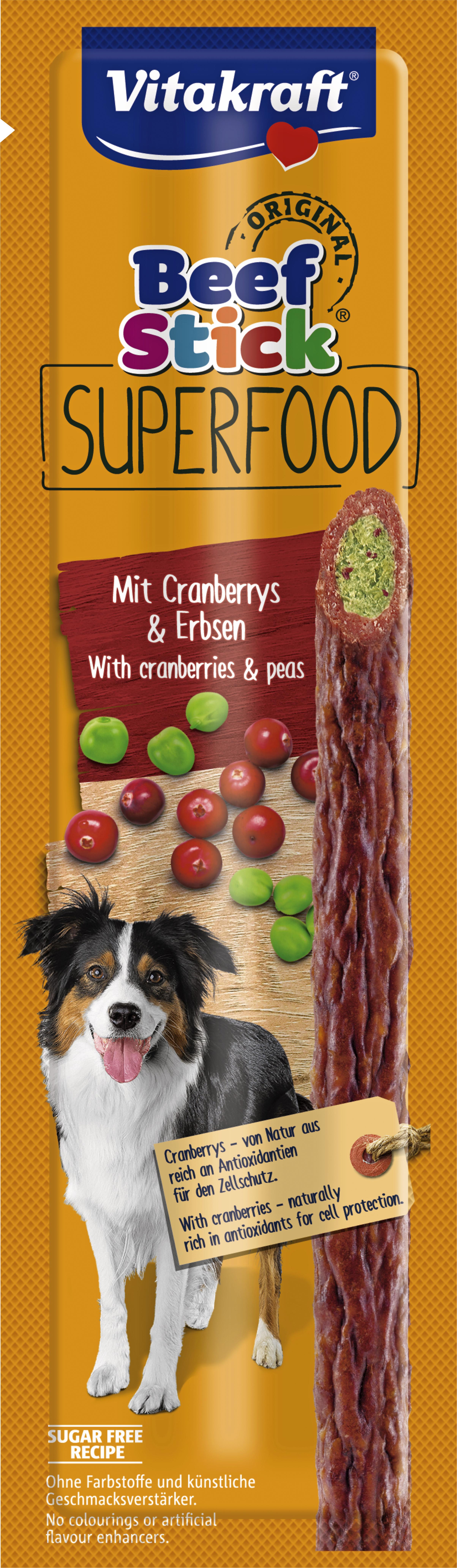 Hundgodis Vitakraft Beef Stick Superfood Tranbär och Ärtor