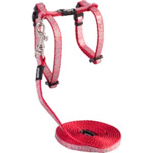 Sele med koppel Rogz Sparklecat Röd S 24-40 cm
