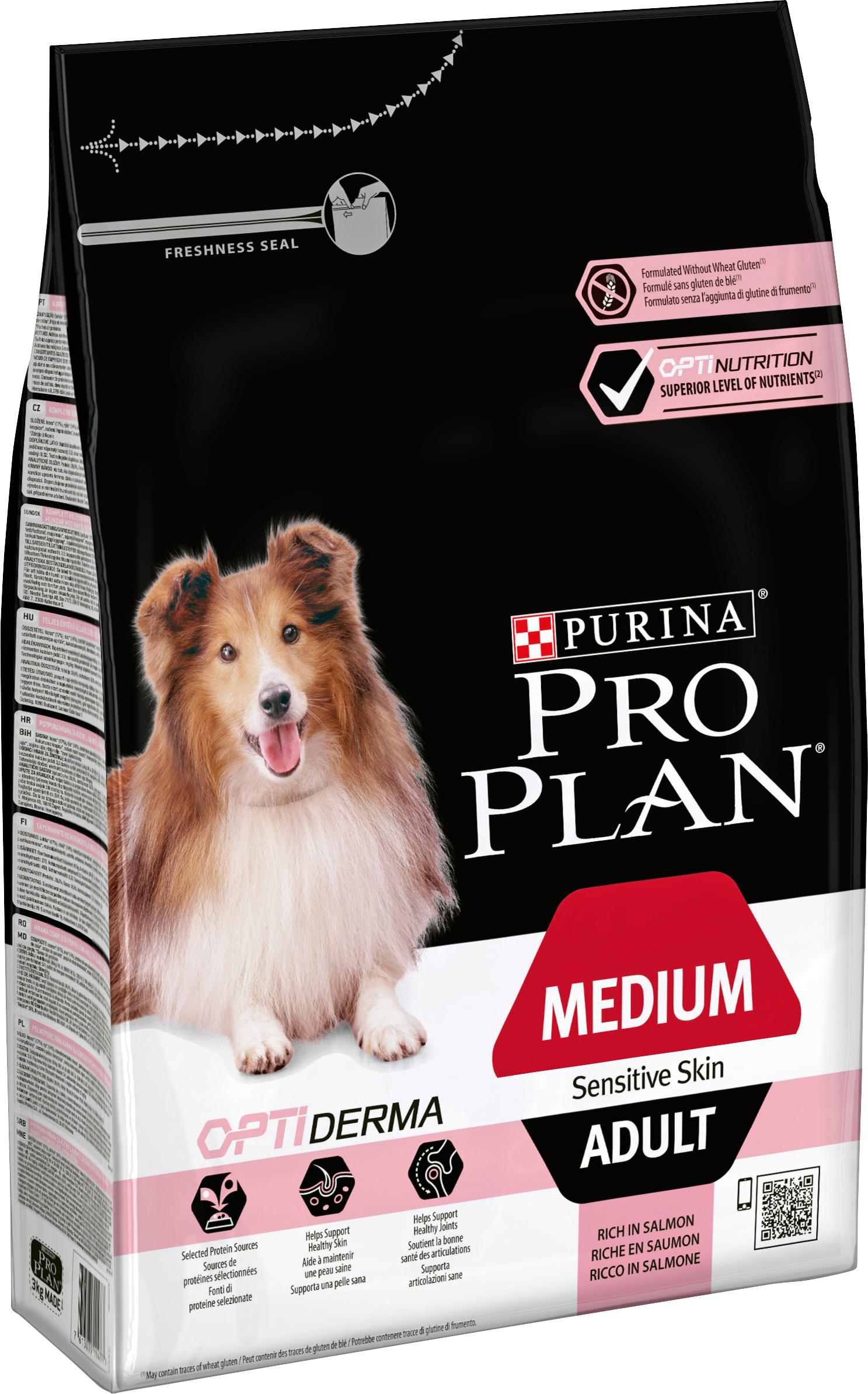Hundfoder Pro Plan Medium Adult Sensitive Skin, 3 kg