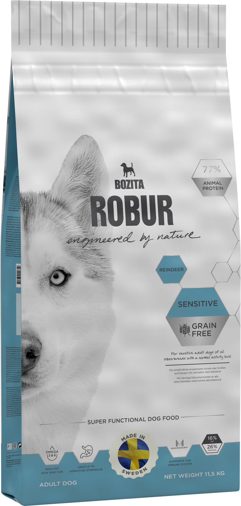 Hundfoder Bozita Robur Sensitive Grain Free Reindeer, 11,5 kg