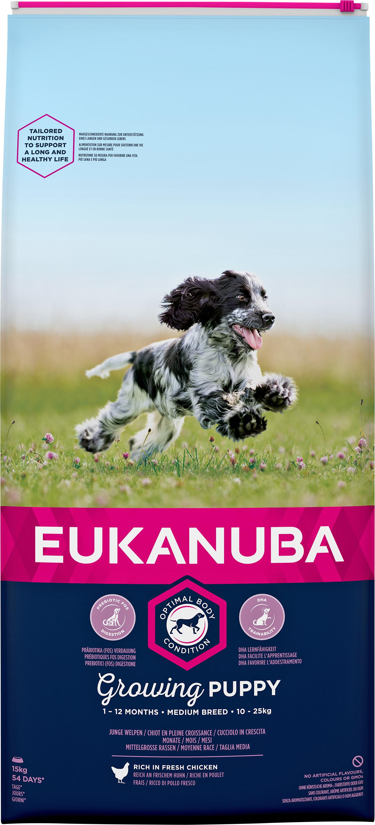 Hundfoder Eukanuba Puppy Medium, 15 kg