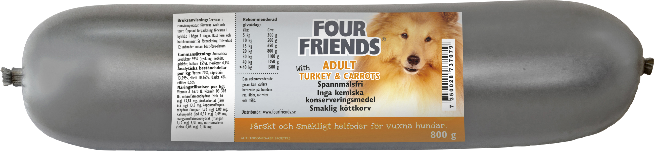 Hundfoder Four Friends Köttkorv Adult Kalkon, 800 g