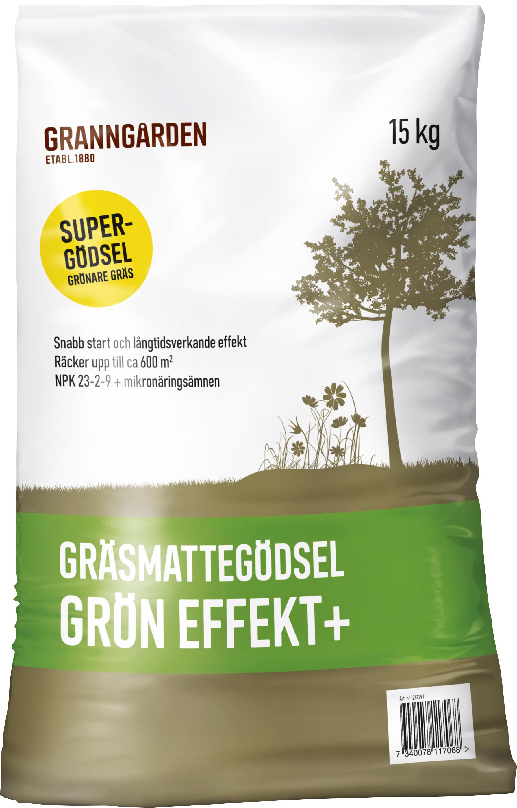 Gräsgödsel Granngården Grön Effekt+, 15 kg