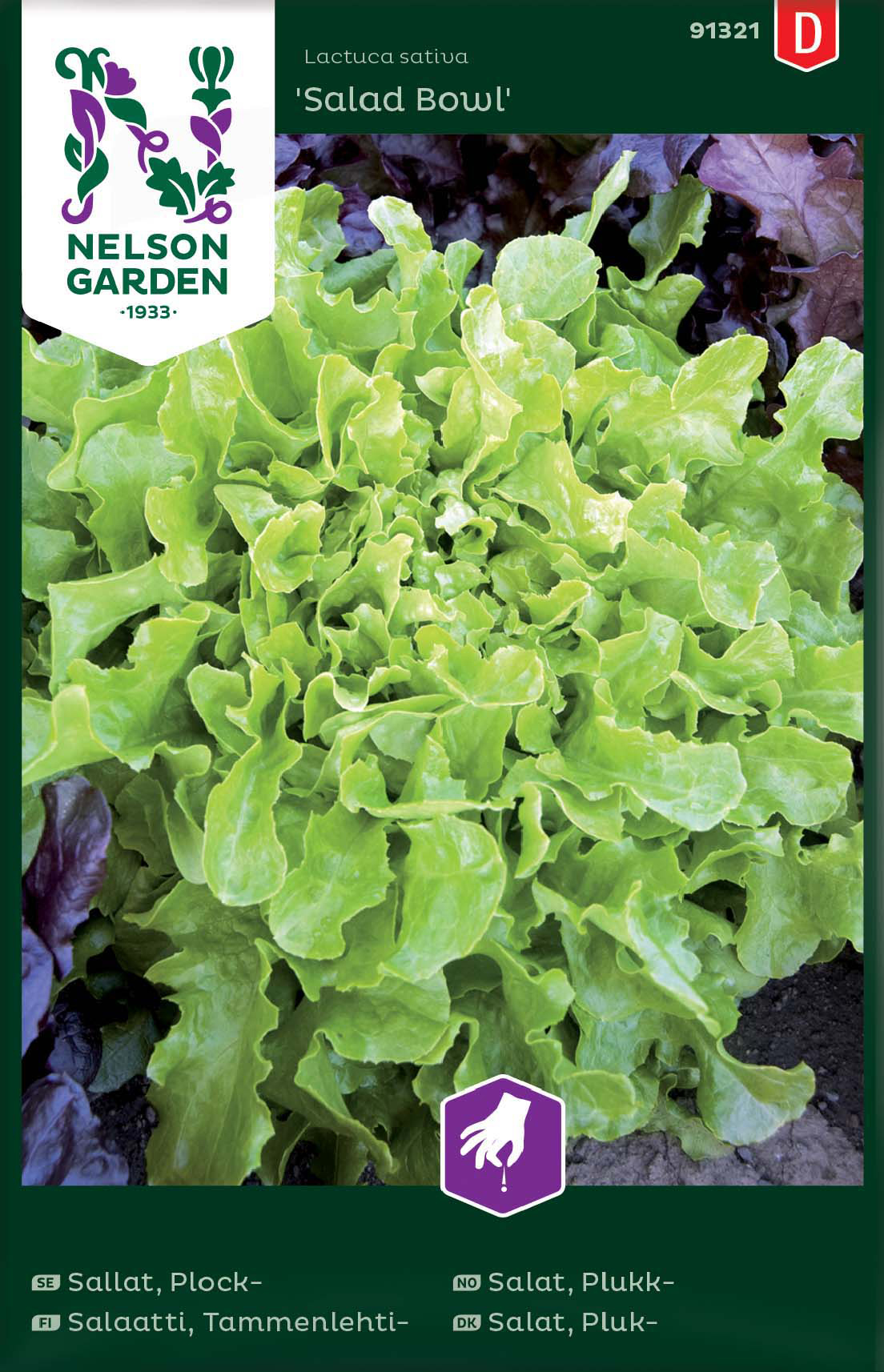 Fröer Nelson Garden Sallat Plock- Salad Bowl Grön