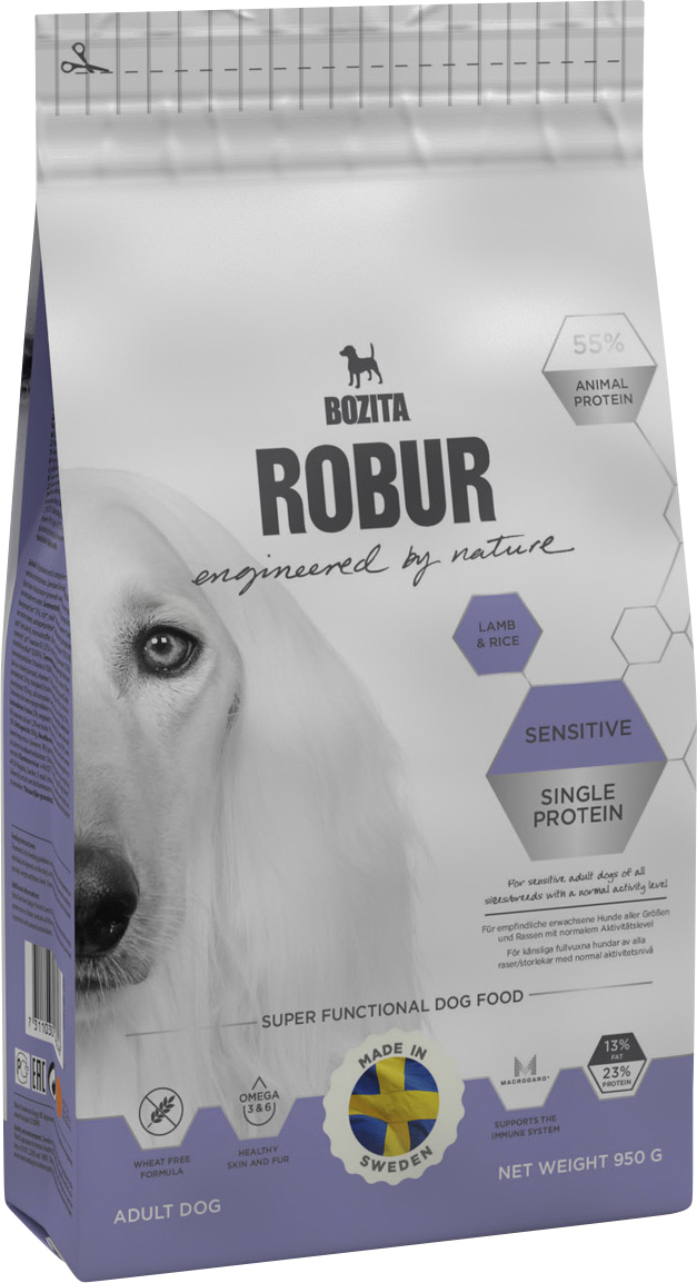 Hundfoder Bozita Robur Sensitive Single Protein Lamb, 0,95 kg