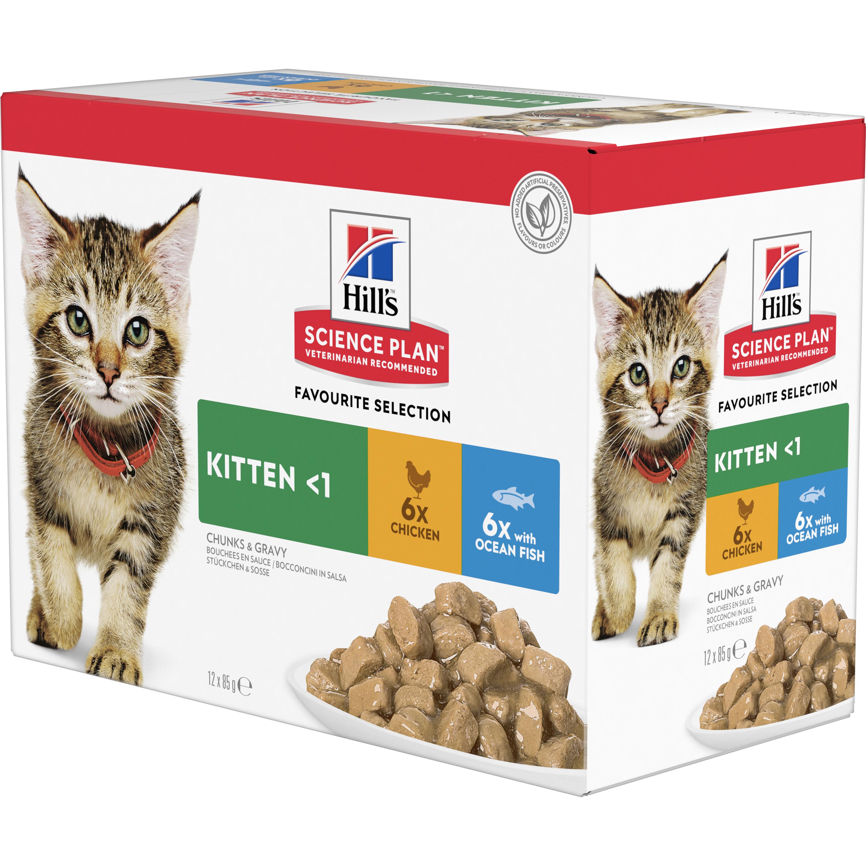 Kattmat Hills Science Plan Kitten Menybox Kyckling/Fisk, 12x85 g
