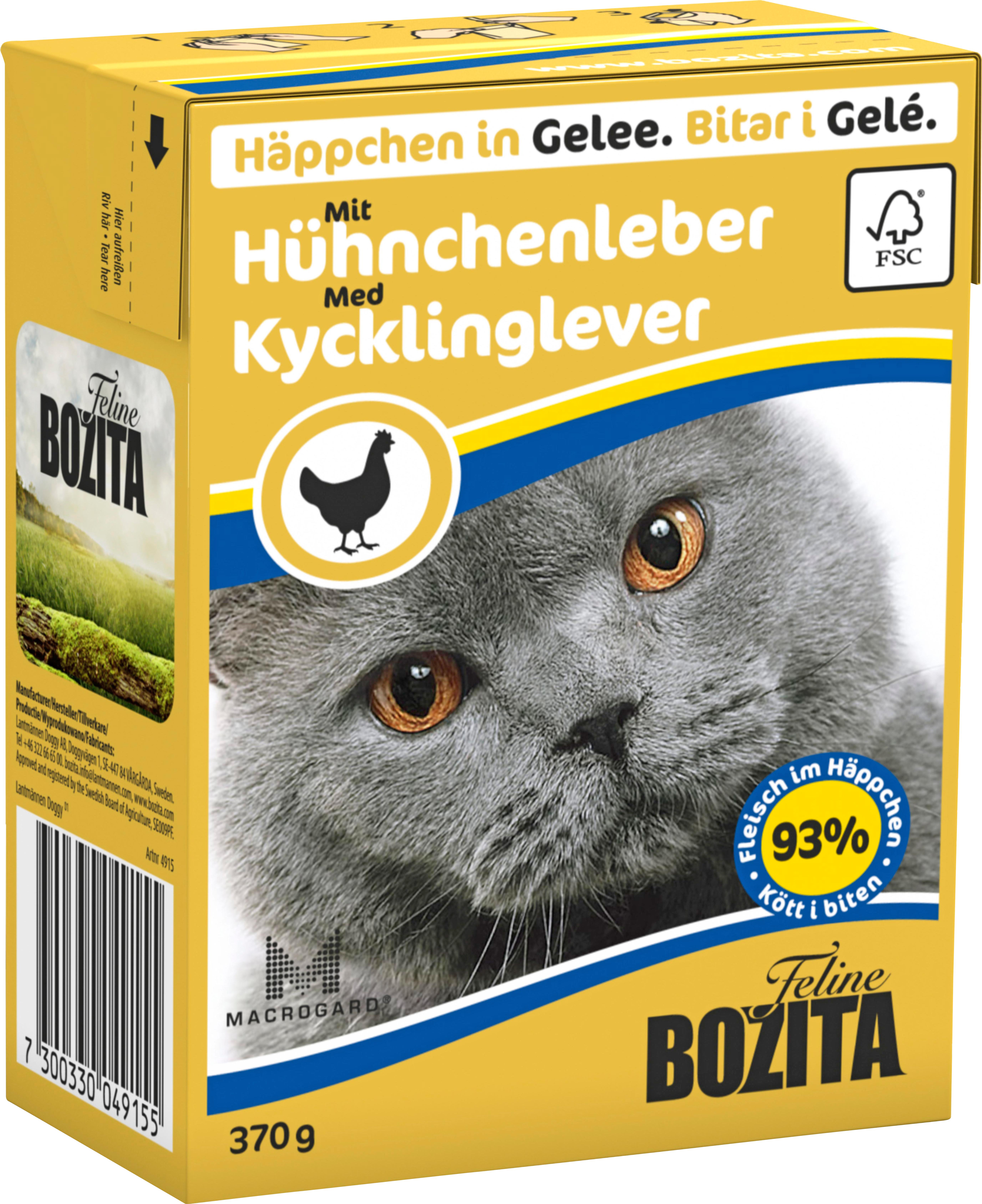 Kattmat Bozita Bitar i gelé med kycklinglever, 370 g