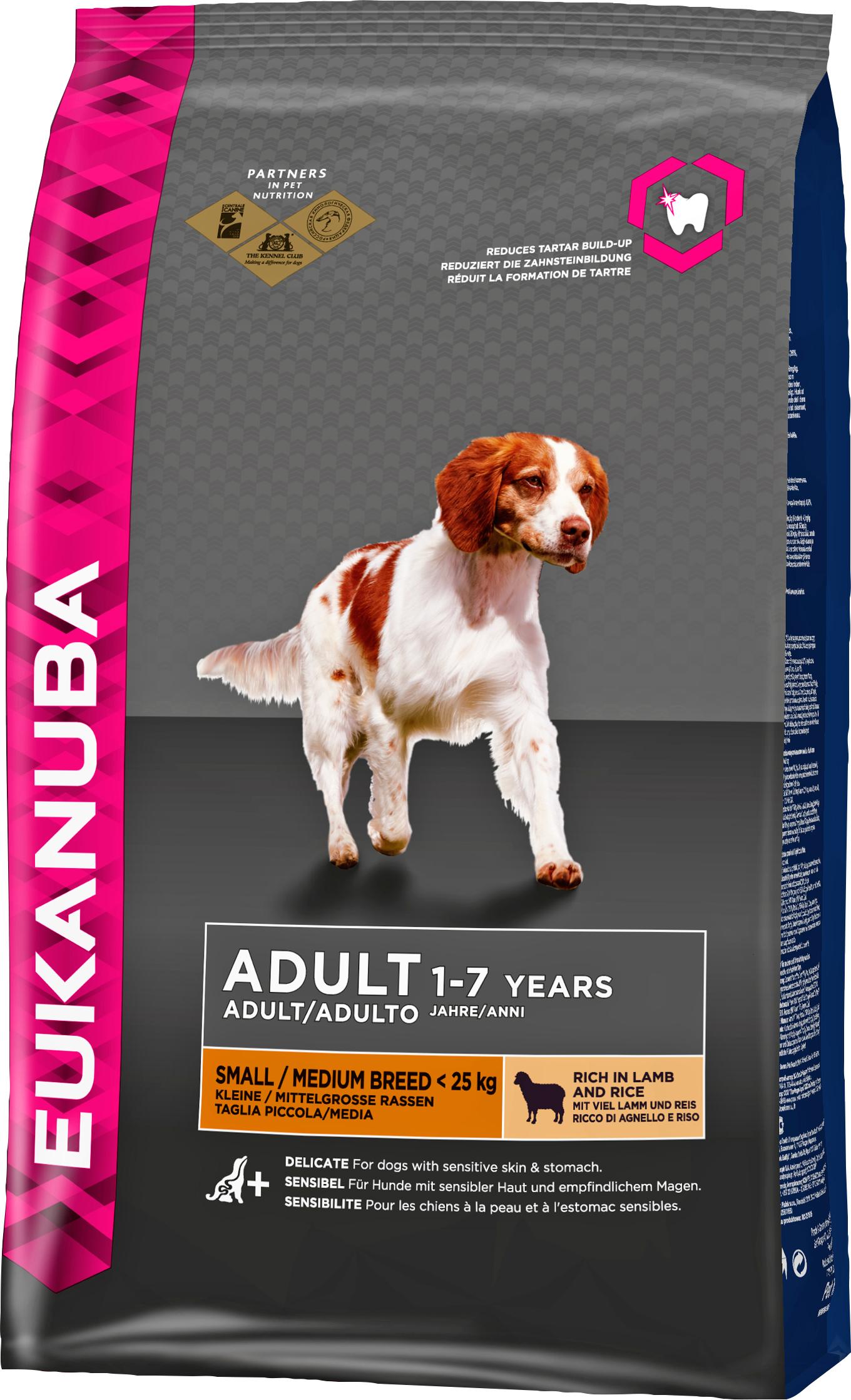 Hundfoder Eukanuba Adult Small & Medium Breed Lamm och Ris, 12 kg