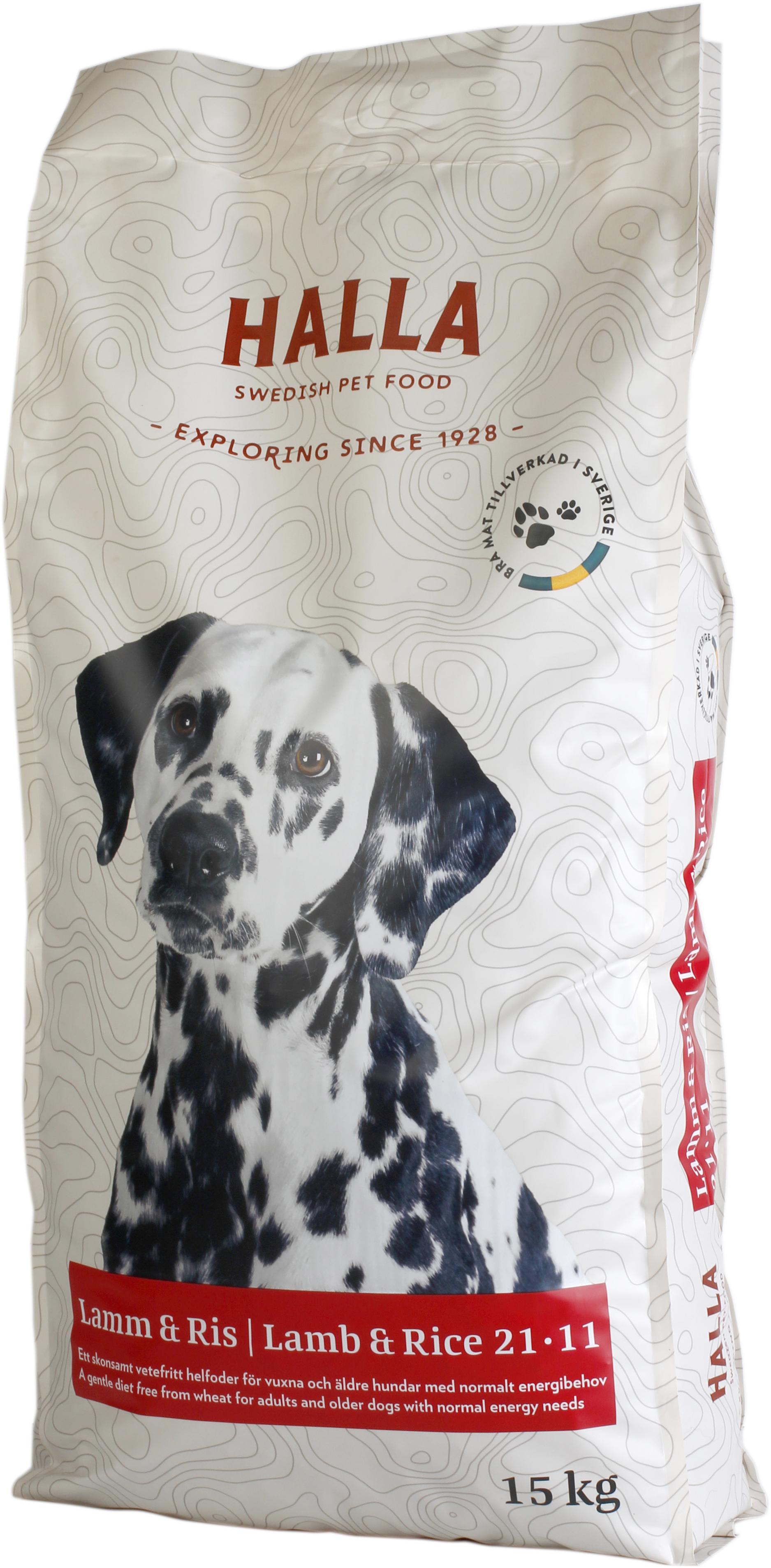 Hundfoder Halla Lamm och Ris, 15 kg