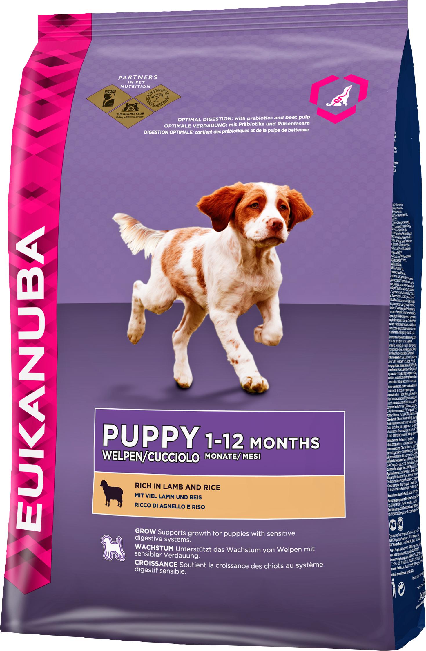 Hundfoder Eukanuba Puppy Large Breed Lamm och Ris, 12 kg