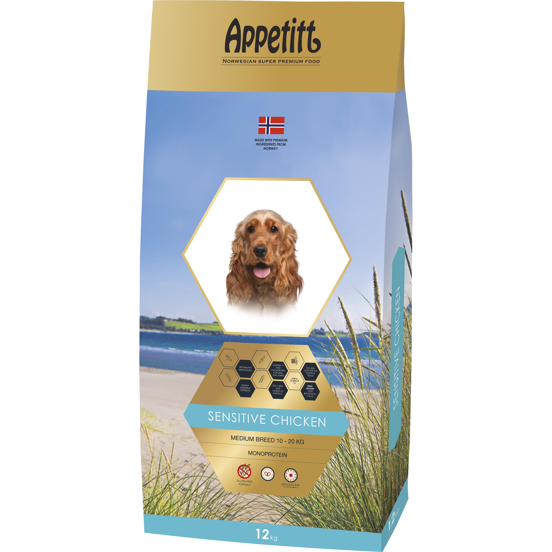 Hundfoder Appetitt Sensitive Chicken Medium Breed, 12 kg