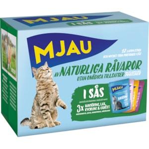 Kattmat Mjau Menybox Kött och fisk i sås, 12 x 85 g