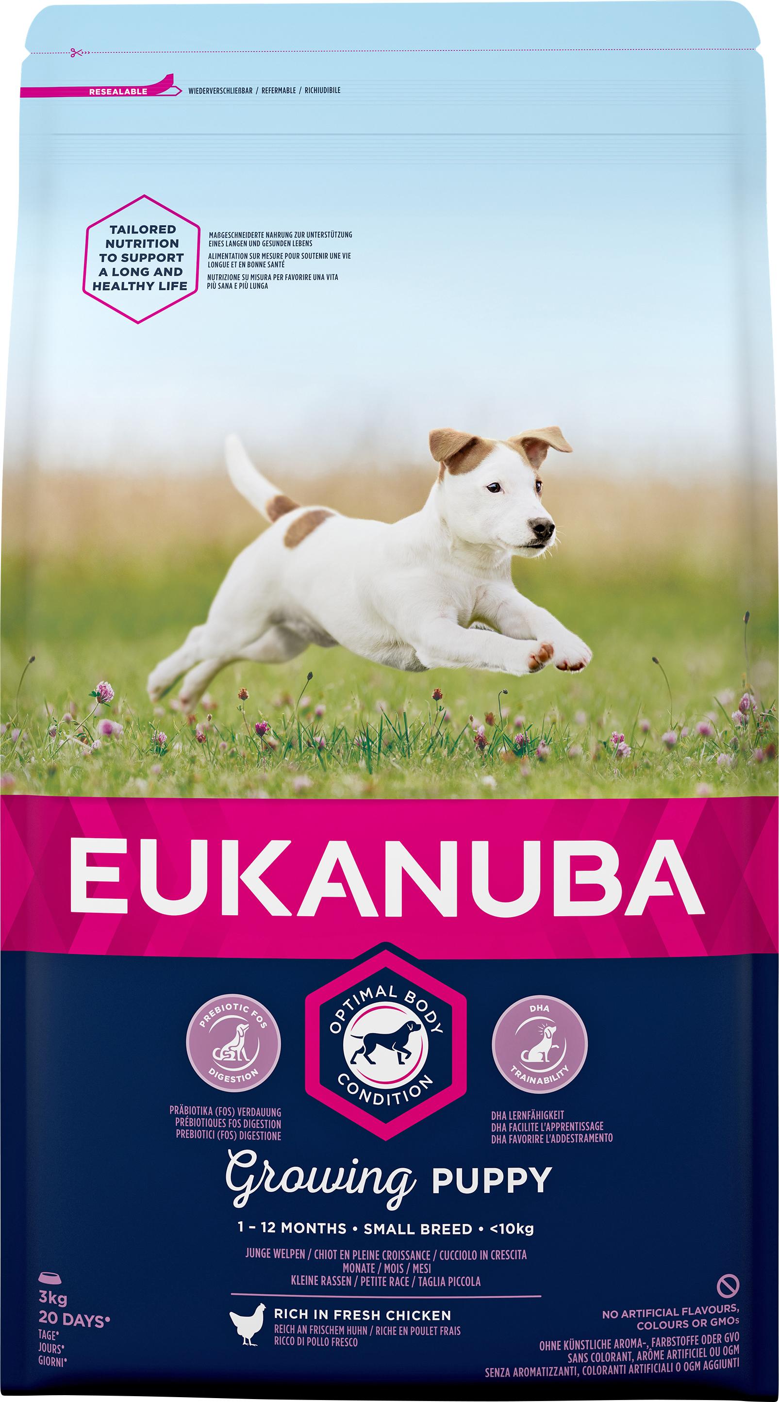 Hundfoder Eukanuba Puppy Small, 3 kg