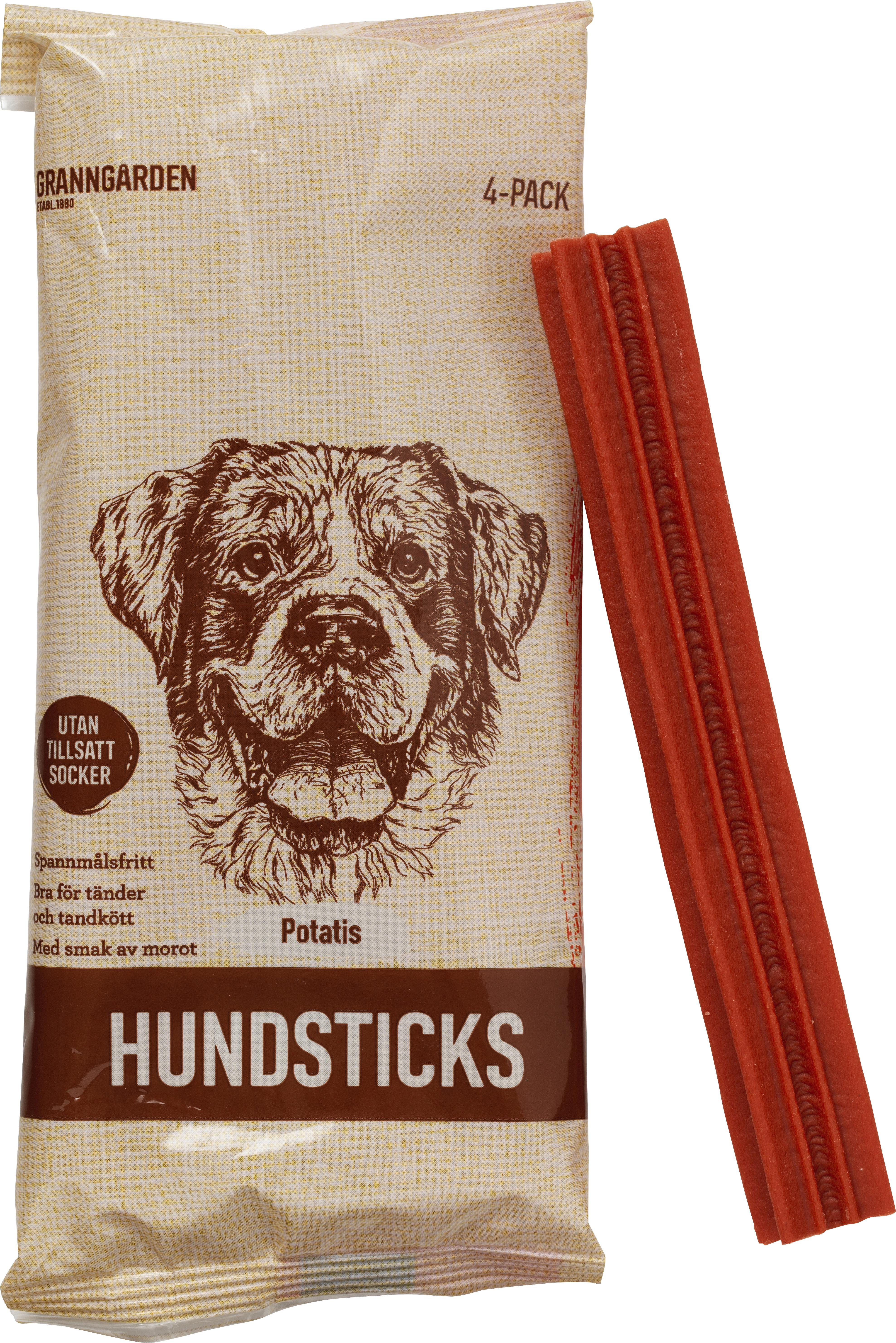 Hundtugg Granngården Hundsticks Potatis, 4-pack