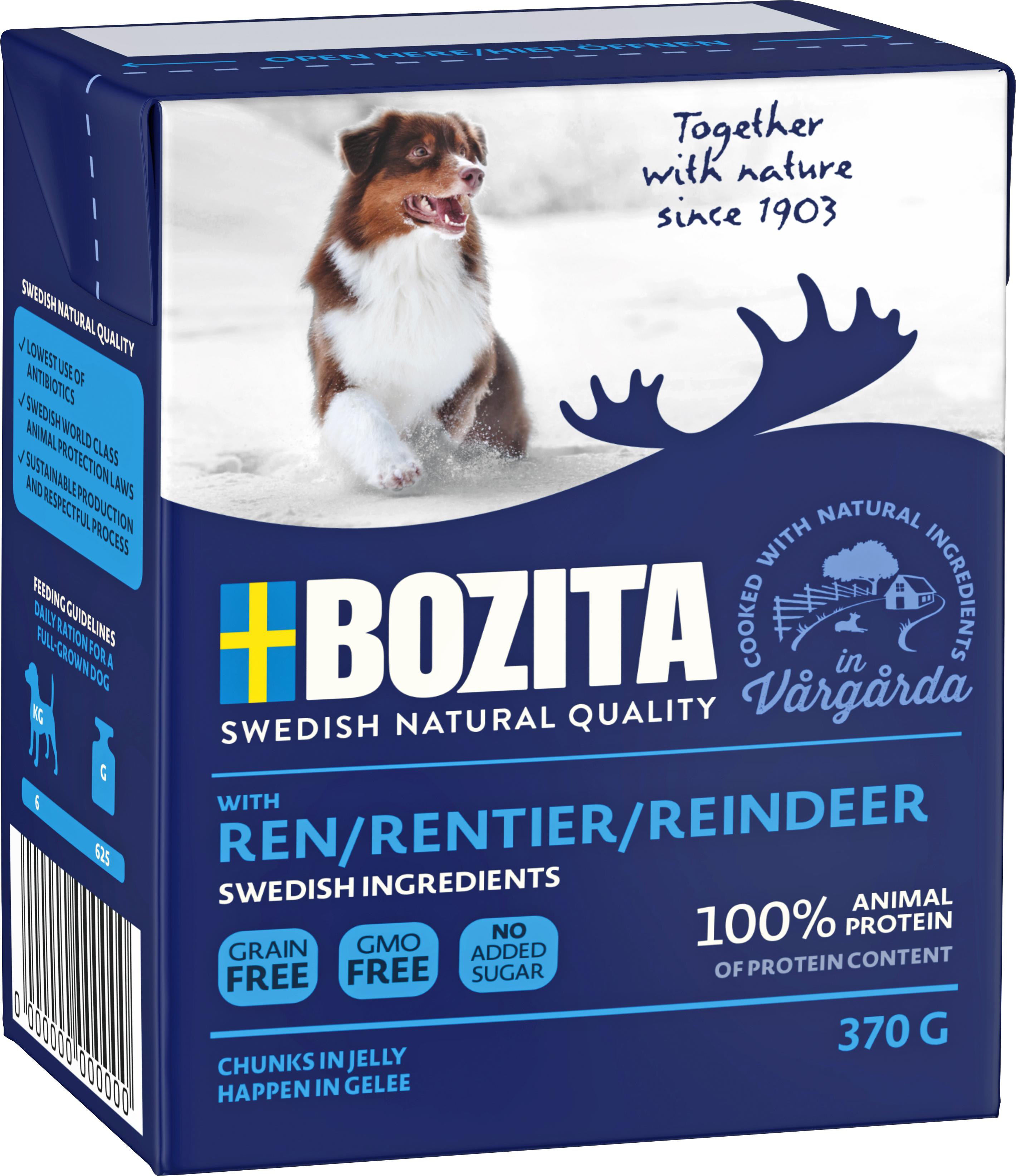 Hundfoder Bozita Tetra Recart Ren, 370 g
