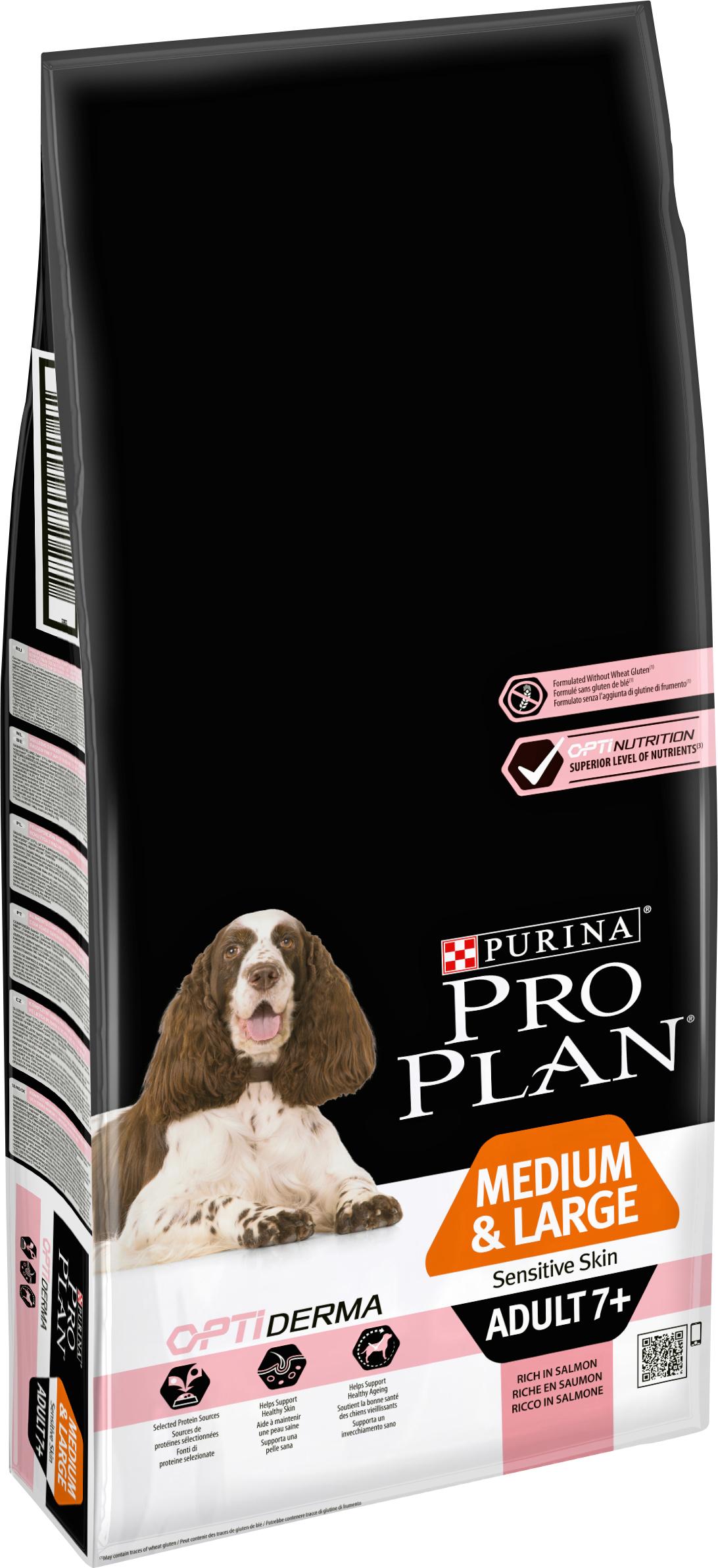 Hundfoder Pro Plan Medium & Large Adult 7+ Sensitive Skin, 14 kg