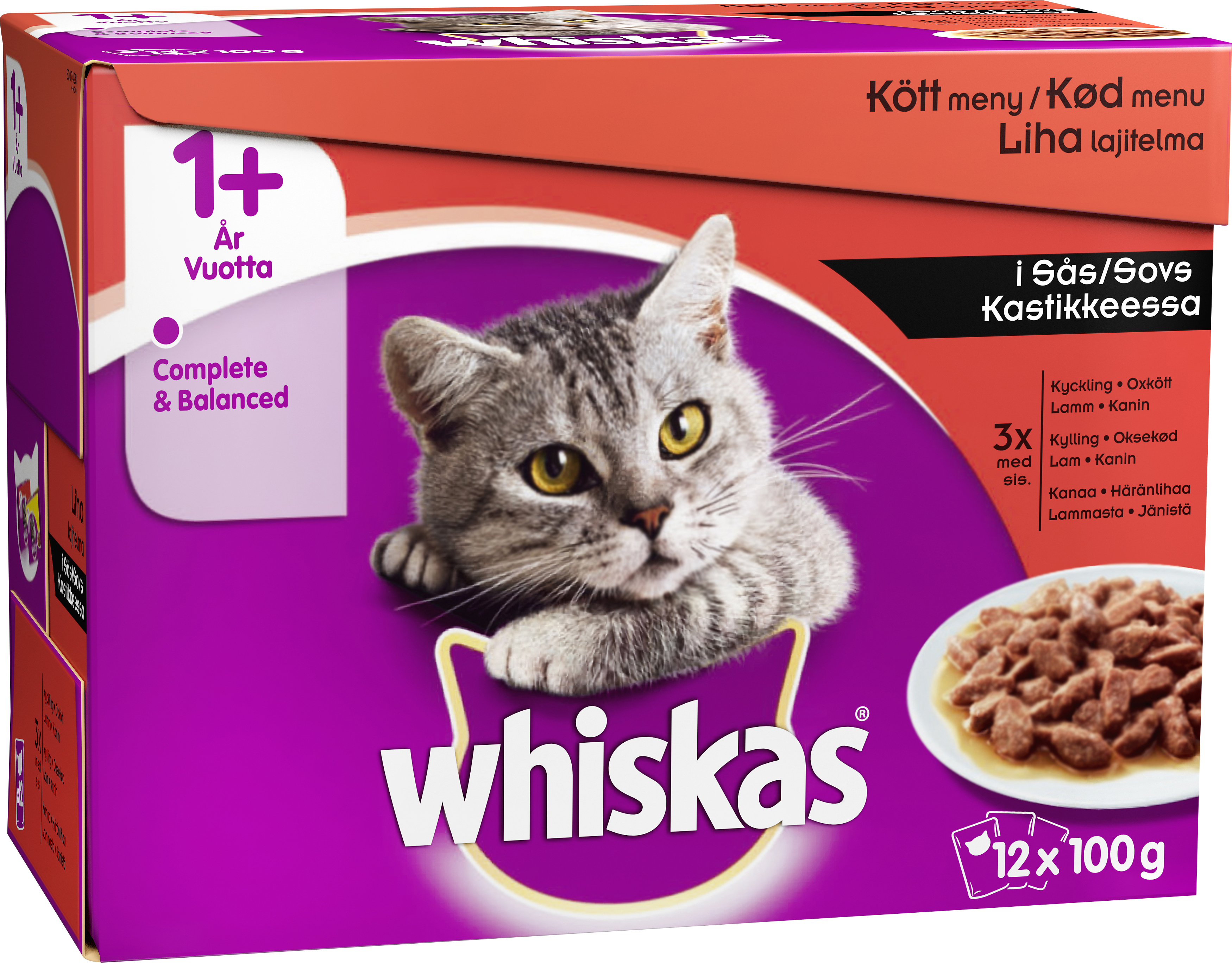 Kattmat Whiskas Menybox, 12 x 100 g