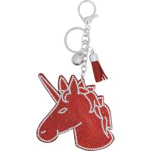 Nyckelring Equipage Unicorn, Silver/röd