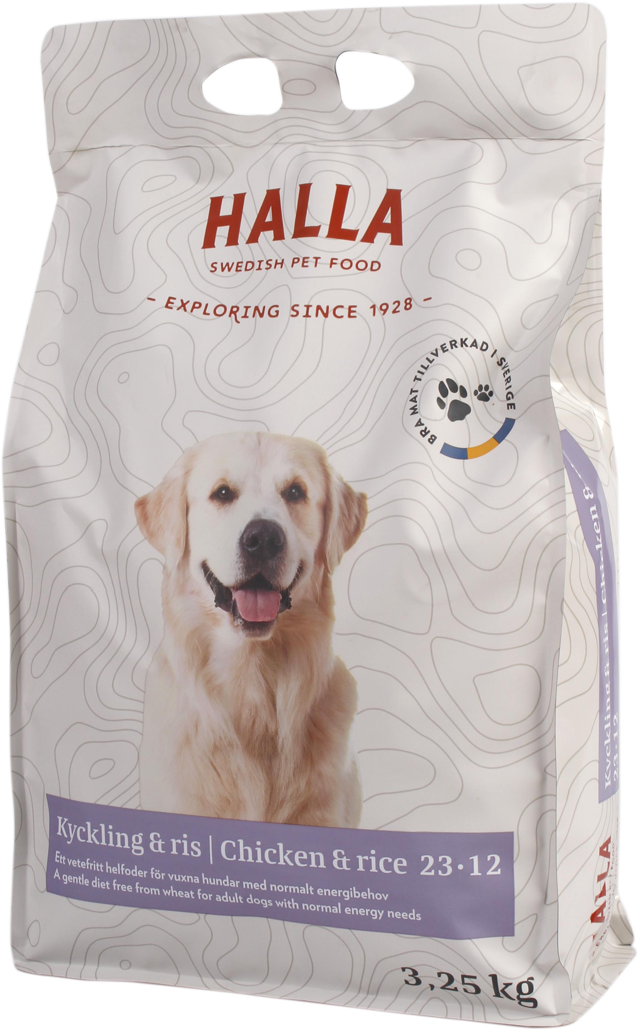 Hundfoder Halla Kyckling och Ris, 3,25 kg