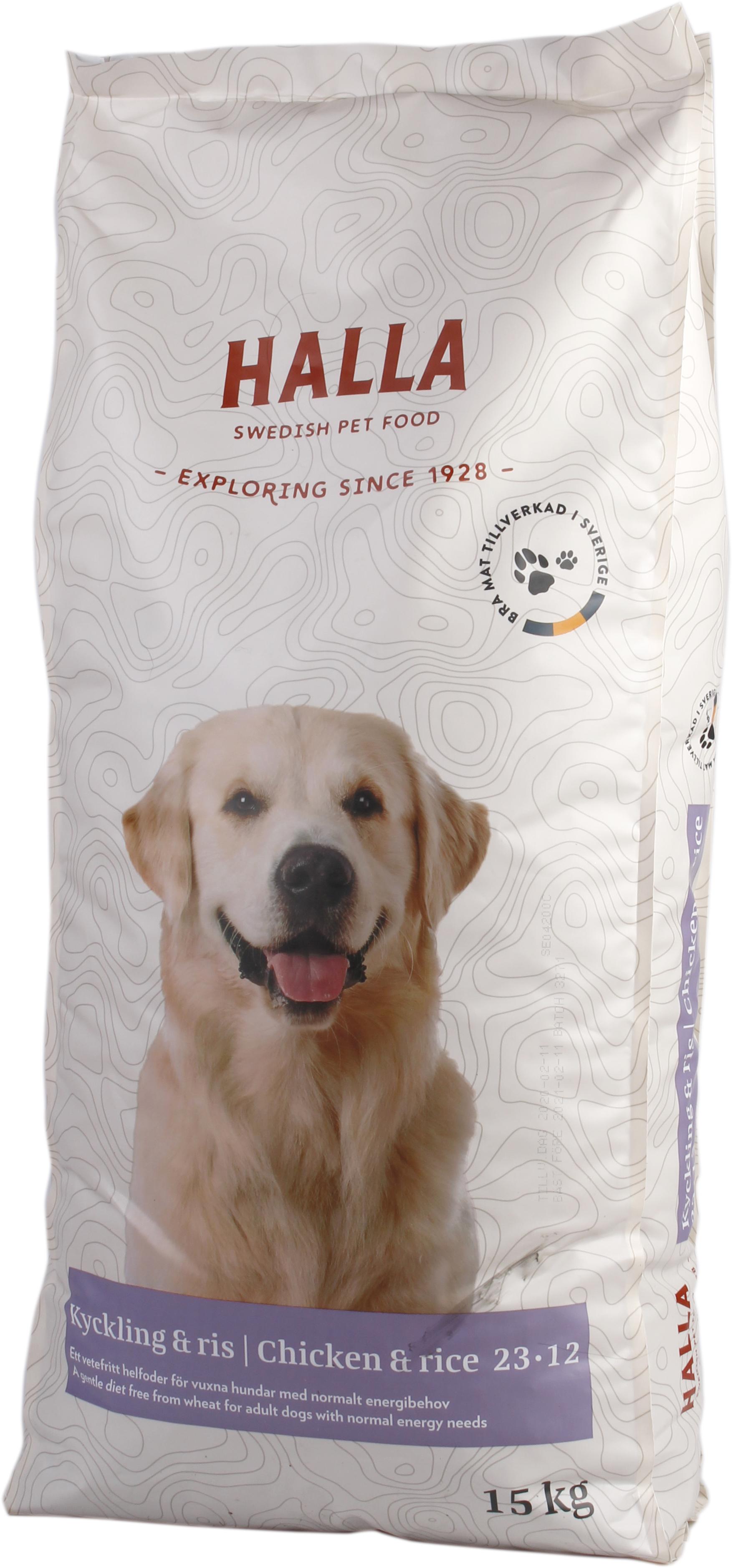 Hundfoder Halla Kyckling och Ris, 15 kg