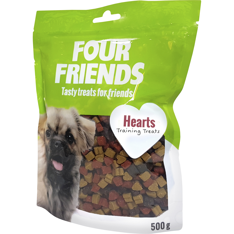 Hundgodis Four Friends Hearts, 500 g