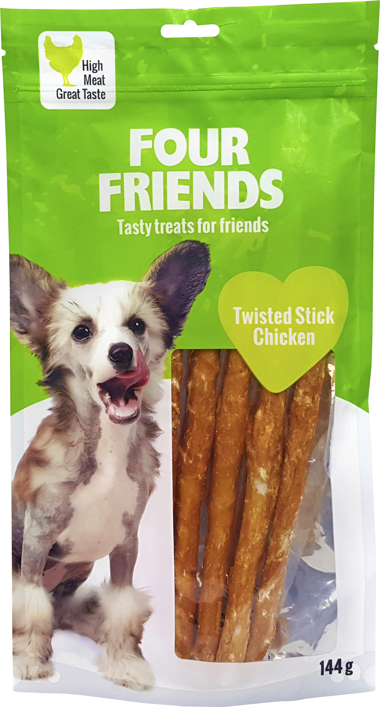 Hundtugg Four Friends Twisted Stick Chicken 25 cm, 5-pack