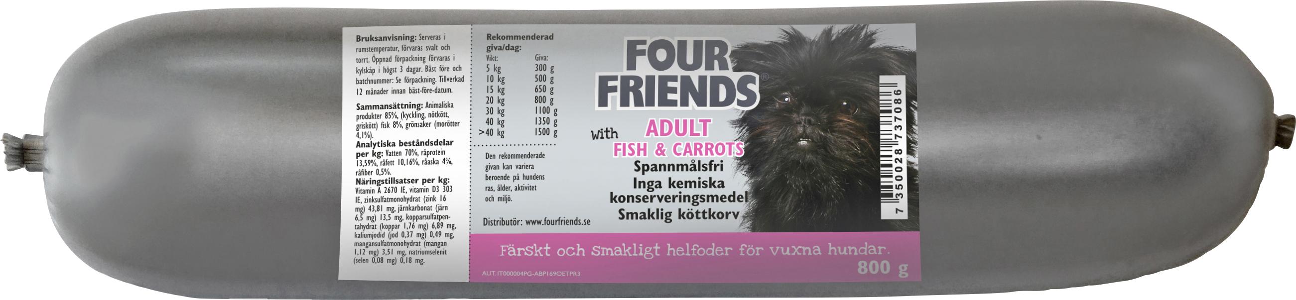 Hundfoder Four Friends Köttkorv Adult Fisk, 800 g