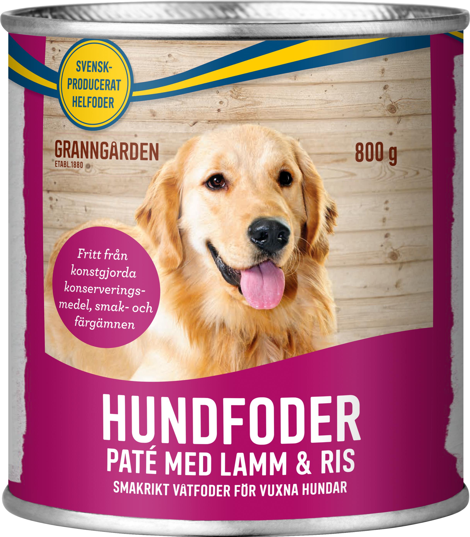 Hundfoder Granngården Paté Lamm och Ris, 800 g