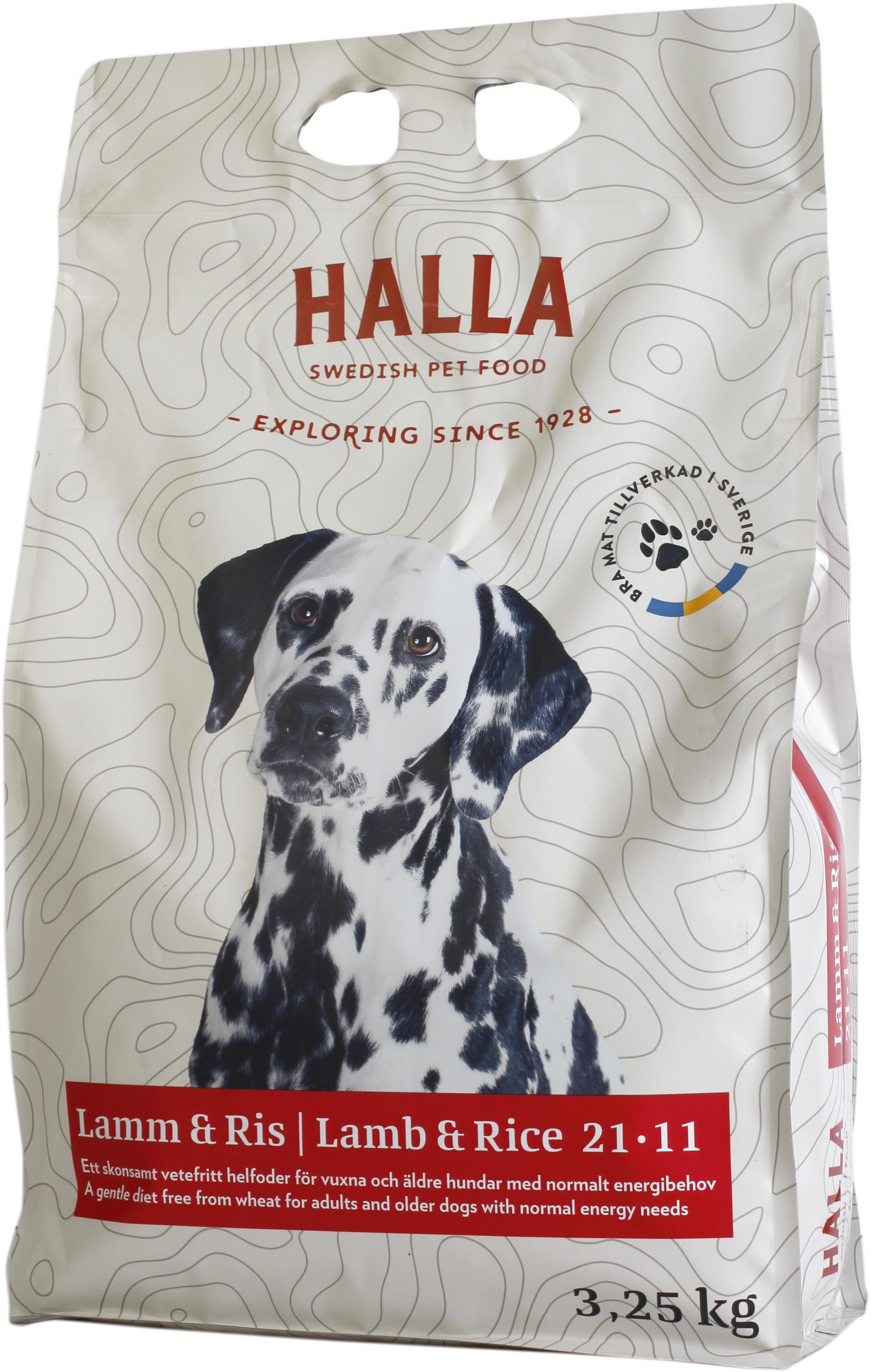 Hundfoder Halla Lamm och Ris, 3,25 kg