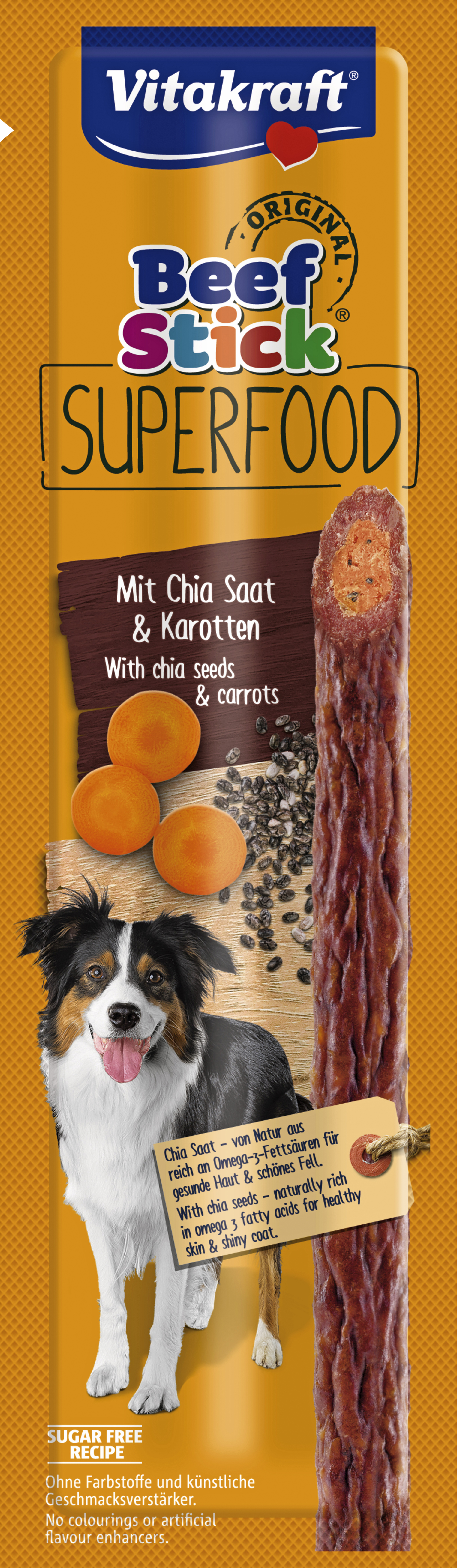 Hundgodis Vitakraft Beef Stick Superfood Chia och Morot