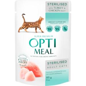 Kattmat Optimeal Adult & Senior Sterilised Turkey & Chicken Fillet in Gravy 85g