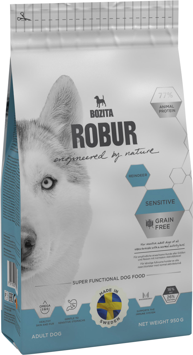 Hundfoder Bozita Robur Sensitive Grain Free Reindeer, 0,95 kg