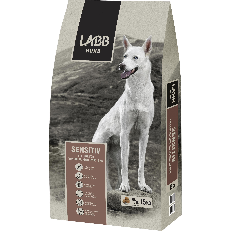 Hundfoder Labb Sensitiv Mellanstora och Stora raser, 15 kg