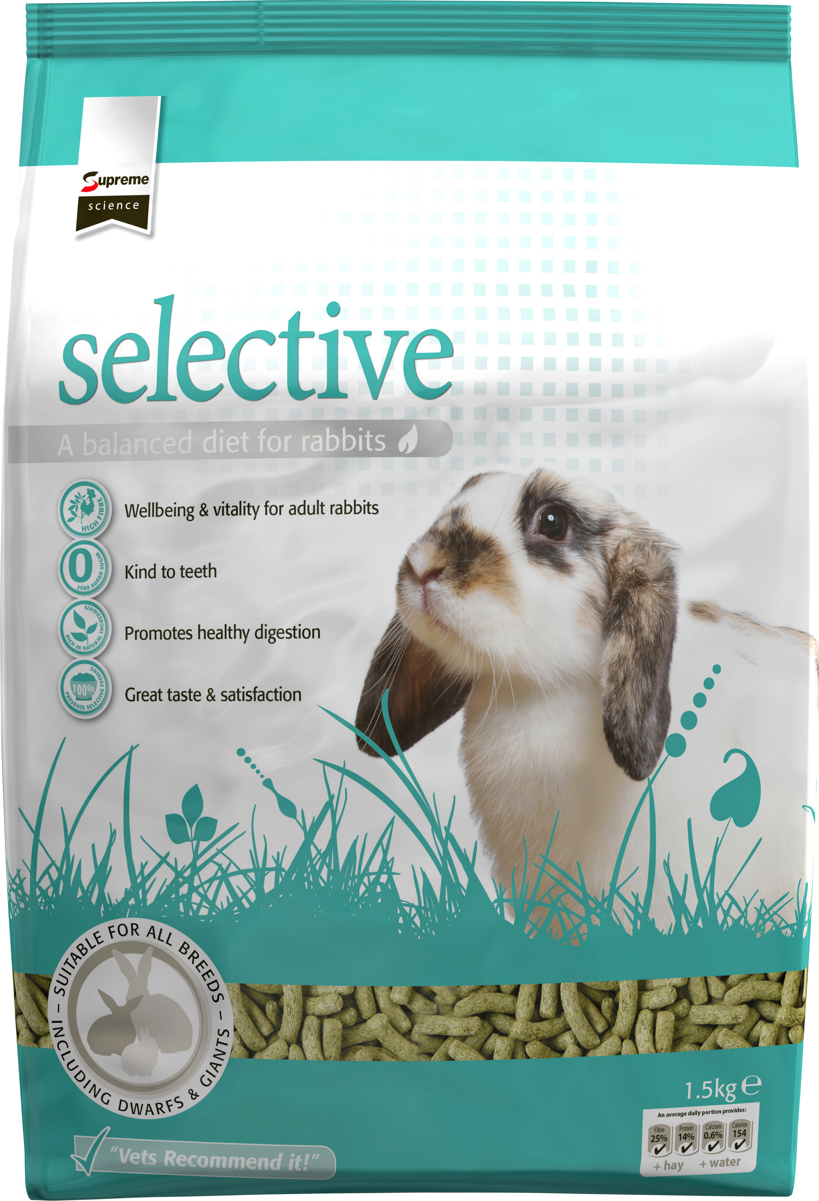 Kaninfoder Selective Pellets, 1,5 kg