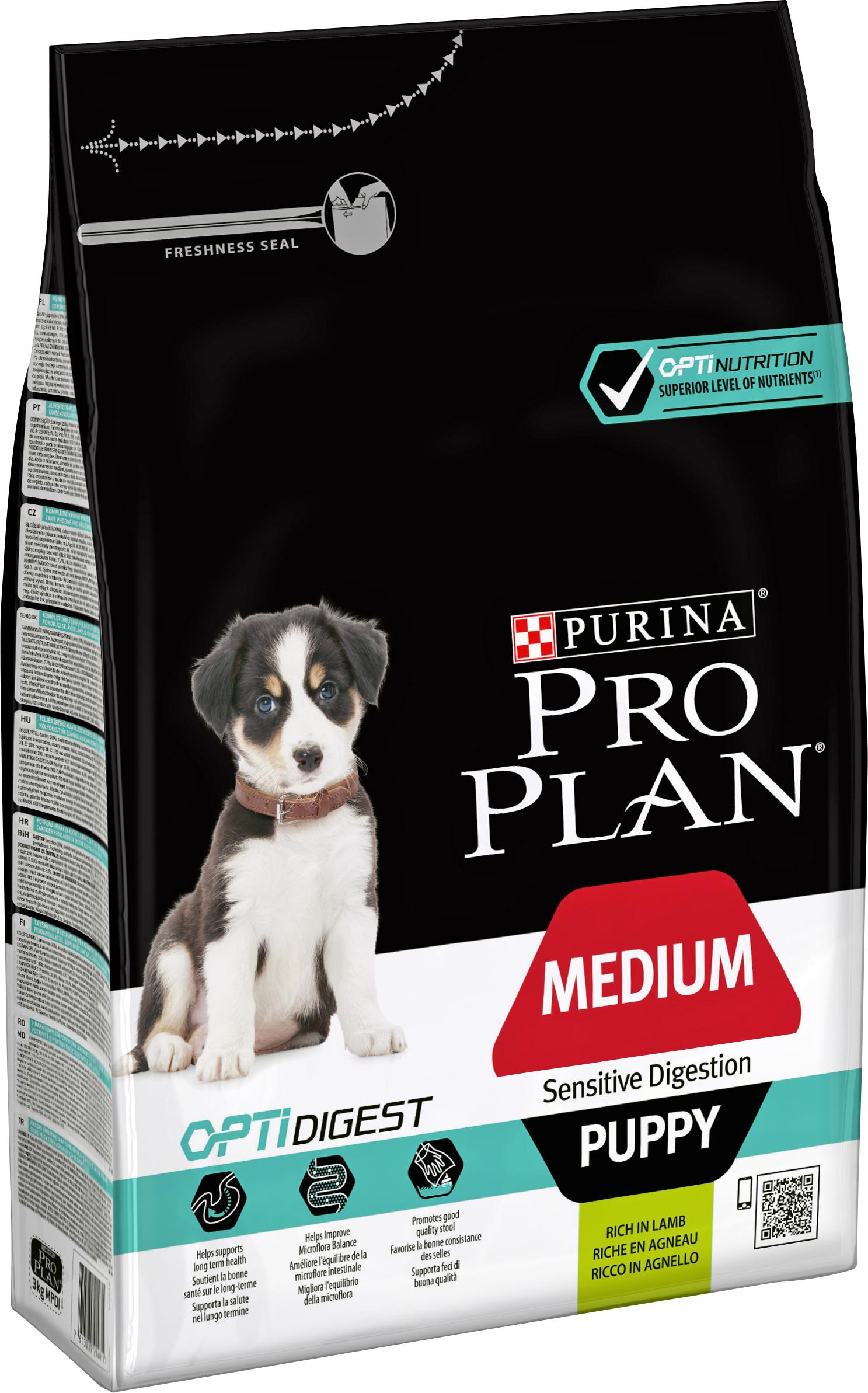 Hundfoder Pro Plan Medium Puppy Sensitive Digestion, 3 kg