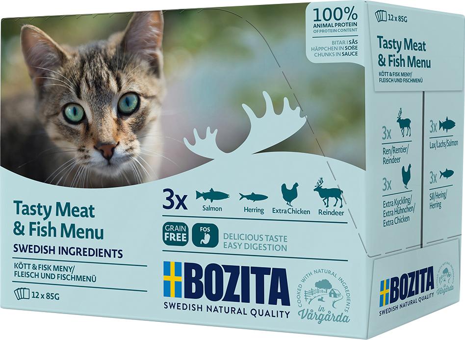 Kattmat Bozita Feline Menybox Kött och Fisk, 12x85 g