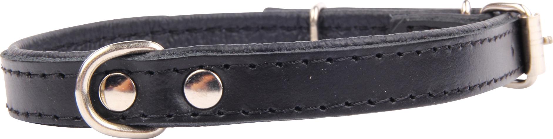 Läderhalsband, Svart 30 cm